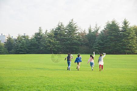 儿童草地玩耍背影图片