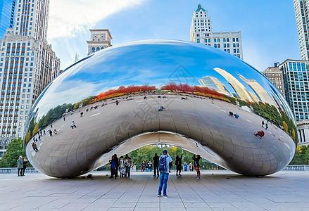芝加哥千禧公园云门雕塑图片
