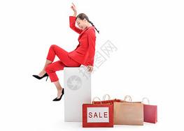 红西装女性购物促销图片