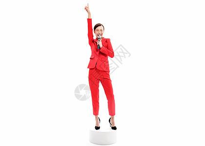红西装女性主持演唱图片