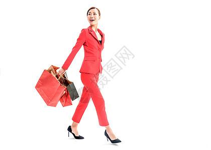 红色装女性购物图片