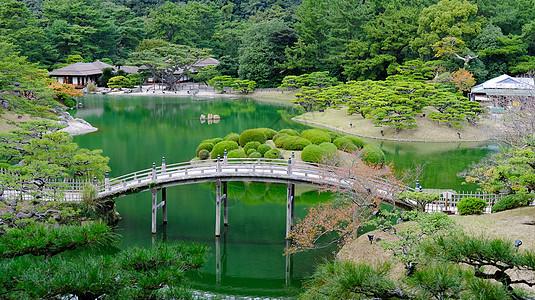 日本高松栗林公园眺望掬月亭图片