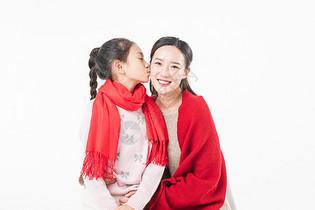新春母女亲吻图片