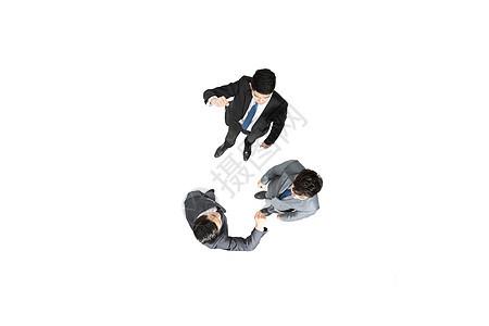 商务沟通交流俯拍图片