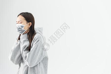 年轻女性咳嗽图片