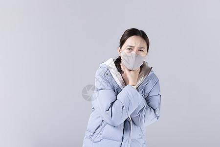 带着口罩掐脖子的女孩图片