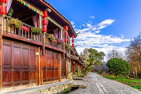 丽江束河古镇的清晨图片