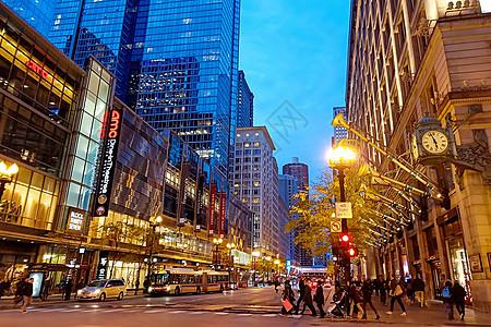 芝加哥街道夜景图片