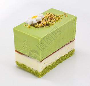 抹茶慕斯蛋糕片图片