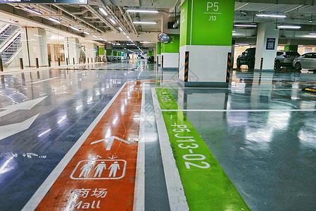 大型商场停车场内的地面指示标图片