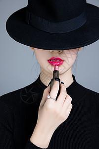美女唇妆图片