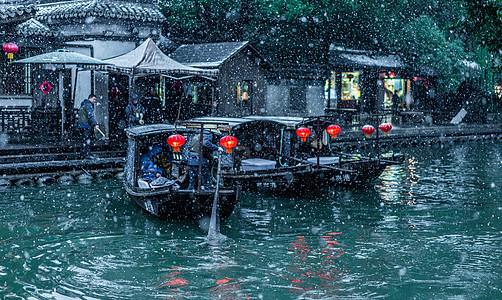 雪夜西塘游船图片
