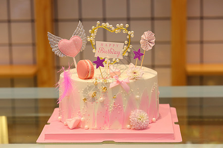 网红仙女风粉色蛋糕图片