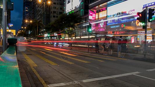 香港街道夜景图片