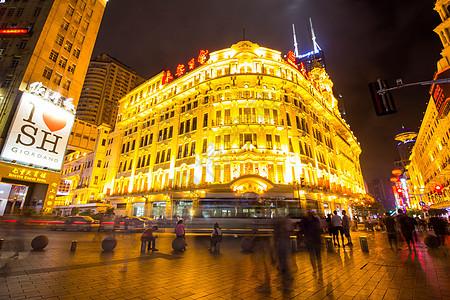 上海南京路夜景延时图片