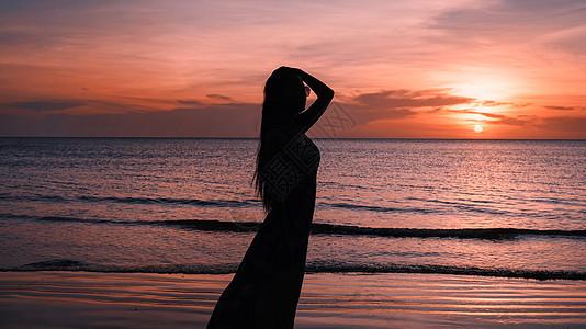 马来西亚最美夕阳美女背影图片