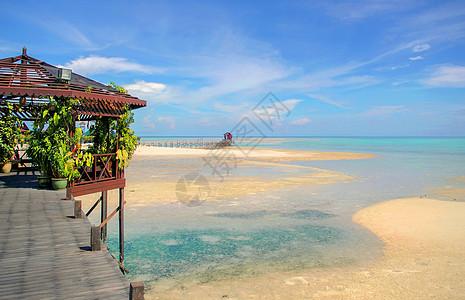 马来西亚的沙滩蓝天与白云图片