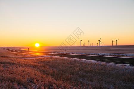 内蒙古海拉尔公路冬季日出图片