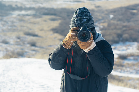 冬季旅行拍照图片