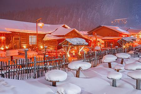 雪乡夜景图片