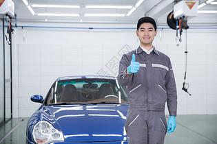 汽车清洁人员工人图片