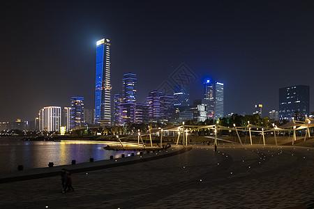 节日的深圳湾公园海滩夜景图片