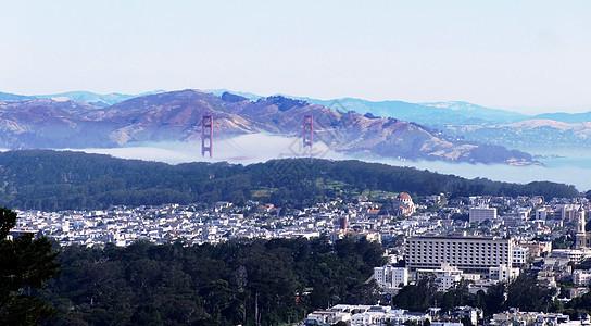 美国西部行旧金山雾锁金门桥图片