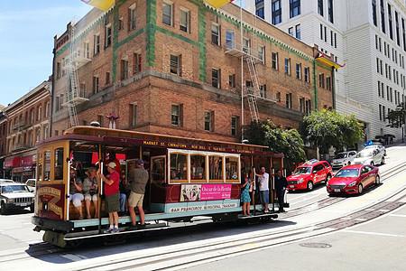 美国旧金山市区的叮当车图片