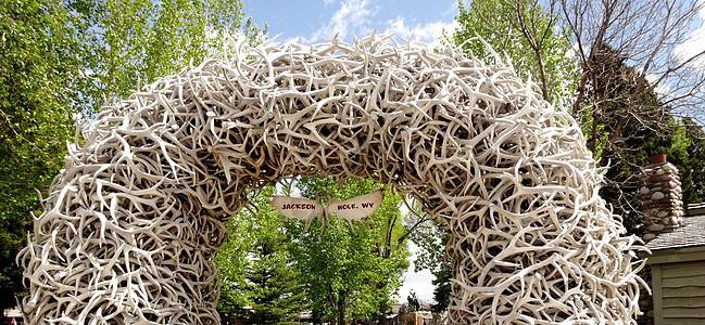 美国西部行杰克逊小镇鹿角搭起的拱门图片