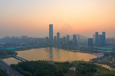 俯瞰深圳湾全景日出图片