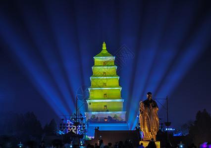 西安大雁塔夜景灯光秀图片