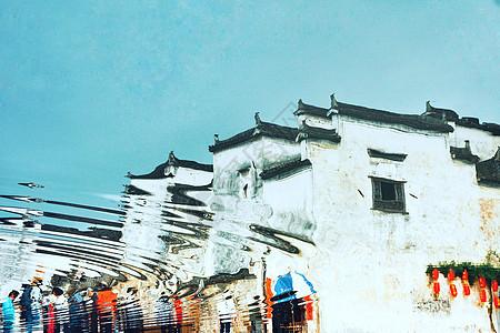 宏村建筑风景水中倒影图片
