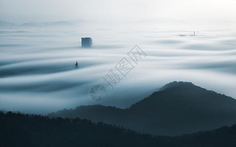 大连海市蜃楼城市风格的平流雾图片