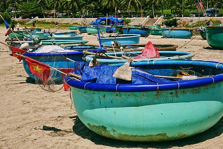 越南美奈独特的捕捞海鲜船图片