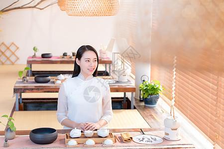 茶艺师美女图片