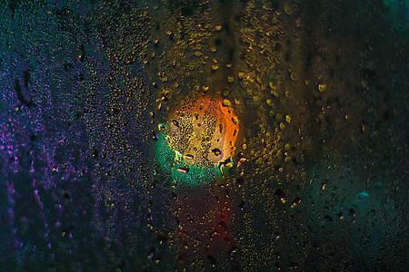 夜晚玻璃上的水滴图片