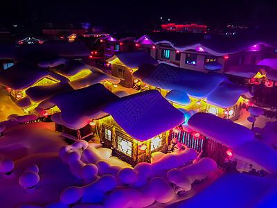 东北雪乡夜景图片