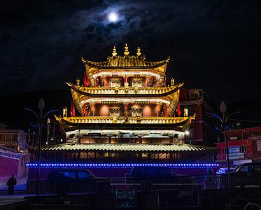 色达塔楼夜景图片