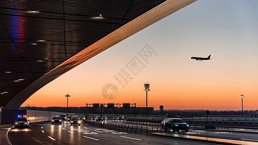 清晨北京机场进站口风景 图片