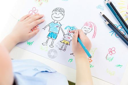 儿童绘画全家福图片