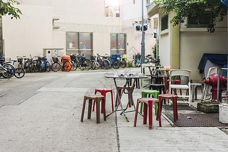 香港长洲岛街头餐桌 图片