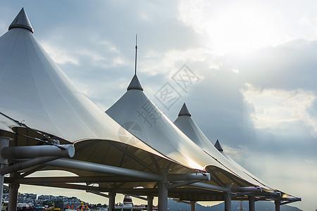 码头栈道帐篷 图片