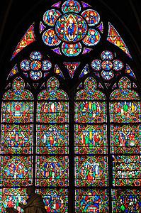 巴黎圣母院彩绘玻璃窗图片