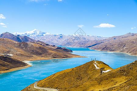 冬天蓝绿色宝石般的羊湖羊卓雍措图片