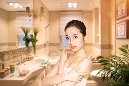 沐浴的女孩图片