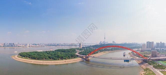武汉汉江与长江交汇处全景长片图片