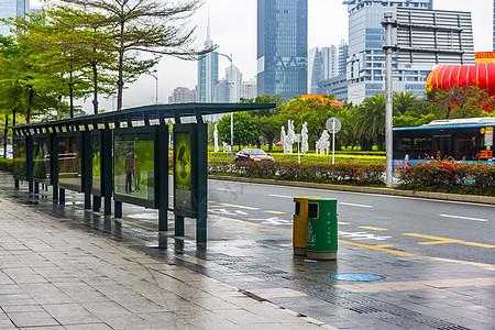 城市公交车站背景图片