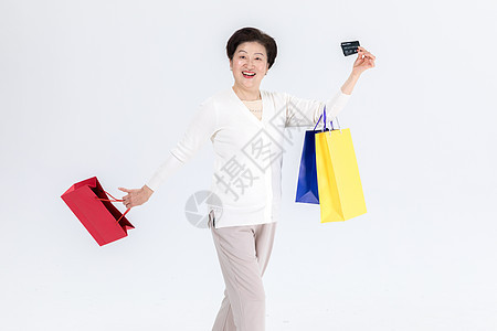 中老年女性购物图片
