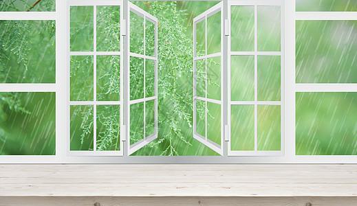 窗外春雨图片