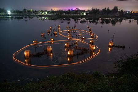 广西京族虾灯捕鱼图片